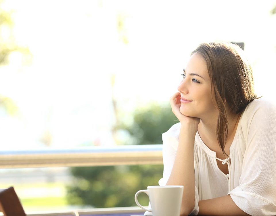 woman with good self-esteem smiling